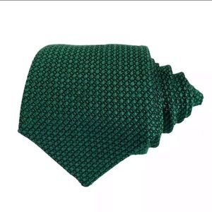 NWOT Charvet Kelly Green Silk Woven Tie Solid Mens